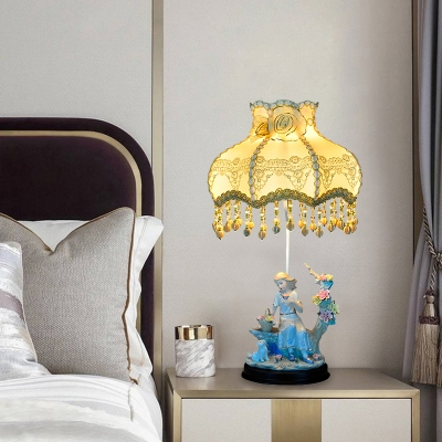 Ceramic Maiden Nightstand Lamp 1 Bulb Bedroom Table Lighting with Beige Scalloped Lampshade