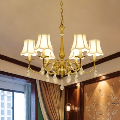 Country Style Scalloped Bell Chandelier 6 Bulbs Fabric Suspended Lighting Fixture in Brass with Crystal Accent
