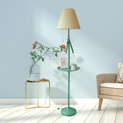 Fabric Cone Floor Light Nordic 1 Head Beige/Pink Standing Floor Lamp with Bow and Plate for Living Room