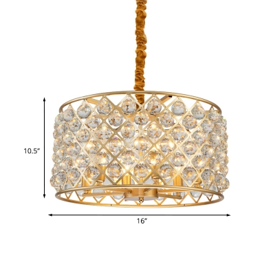 Faceted Crystal Orbs Gold Drop Lamp Crisscrossed-Woven Drum 6 Bulbs Modern Chandelier