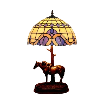 Hand Cut Glass Lattice Bowl Nightstand Light Tiffany 1 Head Coffee Night Lamp with Horse and Kid Deco