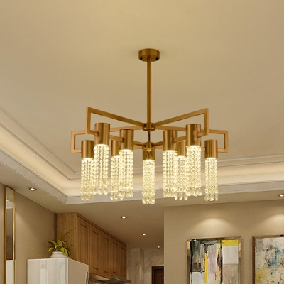 Tube Crystal Strand Semi Mount Lighting Modernist 10-Light Brass Radial Ceiling Lamp Fixture