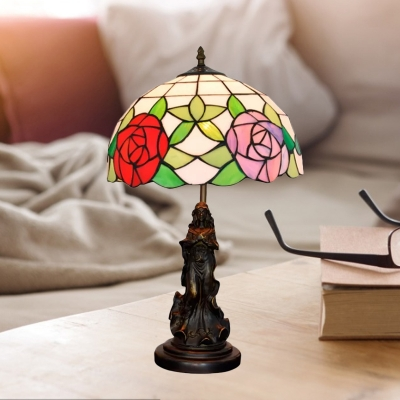 Beautifulhalo coupon: 1 Bulb Bowl Night Table Lighting Baroque Purple/Pink Cut Glass Angel Nightstand Lamp with Bloom Pattern
