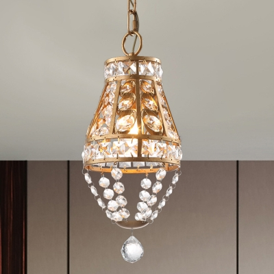 Beautifulhalo coupon: 1 Bulb Elliptical Mini Pendulum Light Rustic Gold Crystal Pendant Lighting Fixture
