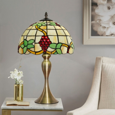 1-Bulb Grapes and Vine Night Lamp Baroque Gold Handcrafted Art Glass Table Light