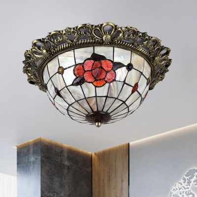 2 Lights Flush Mount Ceiling Lamp Tiffany Rose Patterned Dome Shell Flushmount in Brass