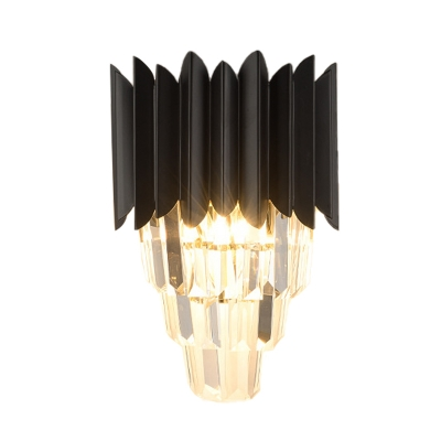 Black 4 Tiers Wall Light Fixture Modern Crystal 2 Bulbs Bedroom Flush Mount Wall Sconce
