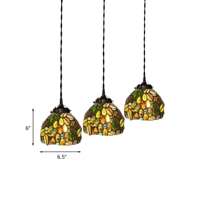 Bowl Down Lighting Pendant 3-Bulb Red Flower/Beige Dragonfly/Yellow Grapes Stained Glass Tiffany Hanging Light Kit