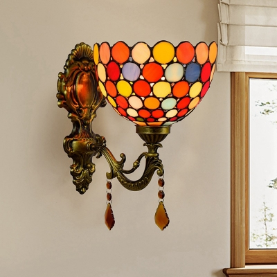 Bowl Wall Mounted Lighting 1-Light Stained Glass Dots Tiffany Style Sconce Light Fixture