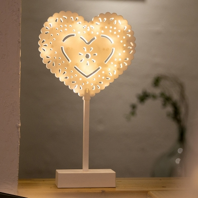 Carved Small LED Table Lamp Modern Plastic White Nightstand Light with Loving Heart/Star/Christmas Tree Design