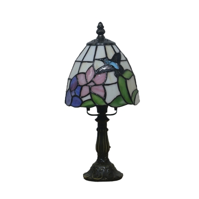 Dome Night Table Lamp 1 Light Stained Art Glass Tiffany Petal/Peacock Tail Patterned Nightstand Lighting in Beige/Pink/Blue