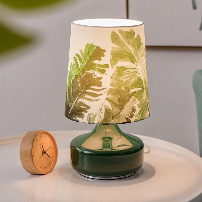 Green Glass Urn Base Table Lamp Nordic 1 Bulb Nightstand Light with Leaf Pattern Fabric Shade