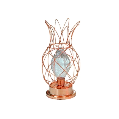 Green/Gold Pineapple Cage Night Lamp Modern Iron LED Table Stand Light with Diamond Glass Shade
