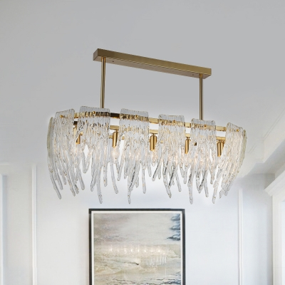 Postmodern Melting Ice Island Lamp 5-Head K9 Crystal Drop Pendant in Gold with Oval Design