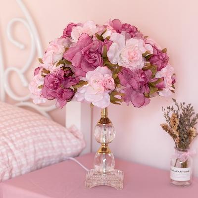Rose Blossom Bedroom Table Lamp Korean Pastoral Fabric Single Purple Night Light with K9 Crystal Base