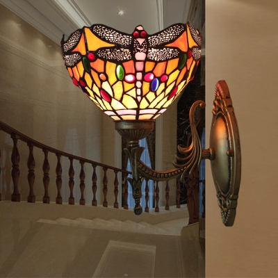 Single Living Room Wall Light Kit Tiffany Bronze Sconce Lamp with Dragonflies Stained Art Glass Shade