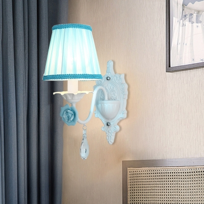 Tapered Fabric Sconce Light Pastoral 1/2-Light Bedroom Wall Lamp with Rose Decor in Blue/Pink