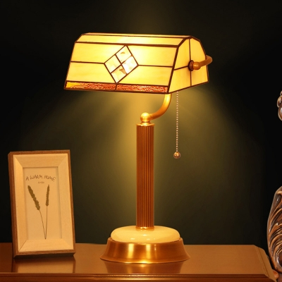 1 Head Bedroom Night Table Lamp Tiffany Brass Desk Light with Rollover Yellow Glass Shade