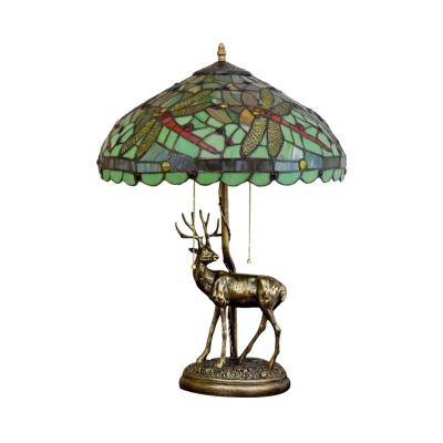 2-Bulb Bedroom Deer Table Lighting Mediterranean Yellow/Orange/Green Dragonfly Patterned Desk Light with Dome Stained Glass Shade
