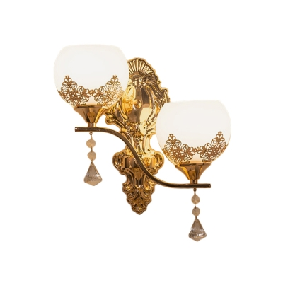 2-Head Opal Glass Sconce Light Fixture Antique Gold Floral Detailing Dome Dining Room Wall Mount Light