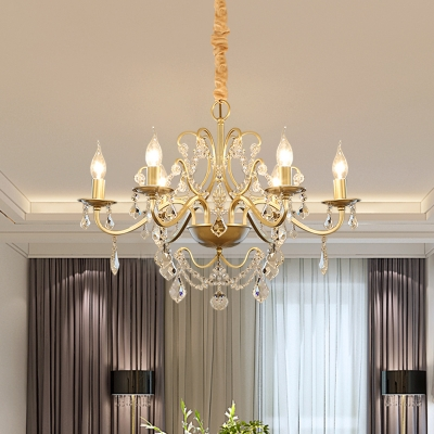 6 Heads Scrolled Arm Pendant Light Countryside Gold Crystal Chandelier with Open Bulb Design