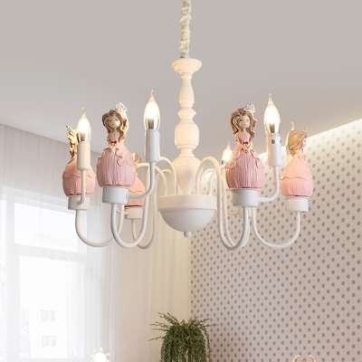 Cartoon Cinderella Resin Chandelier 6 Lights Hanging Pendant with Candle Design in White and Pink