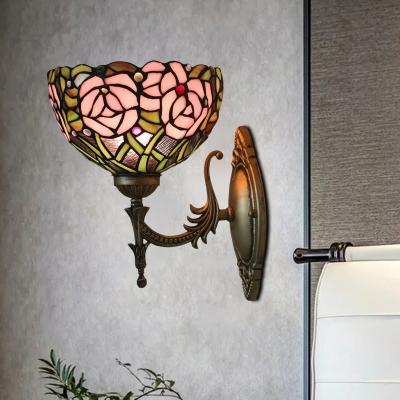 Cut Glass Rose Blossom Wall Light Tiffany 1 Bulb Brown/Dark Brown Finish Sconce Light Fixture