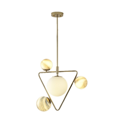 Globe Glass Orb Ceiling Chandelier Modernism 4 Bulbs LED Hanging Light Kit with Gold Triangle Frame