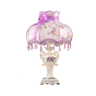 Head Table Lamp Patterned Fabric Pastoral Bedroom Night Light with Bowl Lampshade in Purple