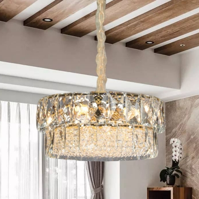 K9 Crystal Block 2 Layer Hanging Light Modern 7 Heads Living Room Pendant Chandelier in Gold