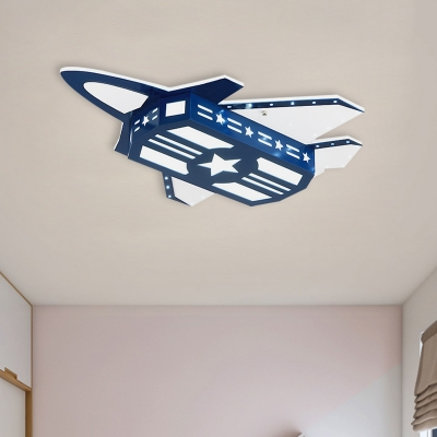 Kids Plane Wooden Flush Mount Light LED Close To Ceiling Lighting Fixture In Blue For Child Bedroom - Beautifulhalo.com