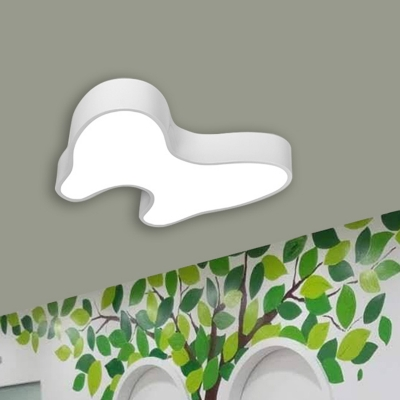 LED Kindergarten Flush Mount Kids White Flush Light Fixture with Tooth Acrylic Shade