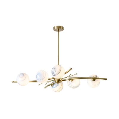 Nordic Star Hanging Chandelier Globe Glass 6 Lights Living Room LED Pendulum Lamp in Gold