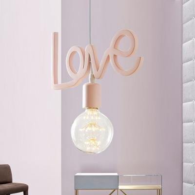 Resin Love-Shape Suspension Lamp Macaron 1 Bulb Pink Finish Hanging Ceiling Light