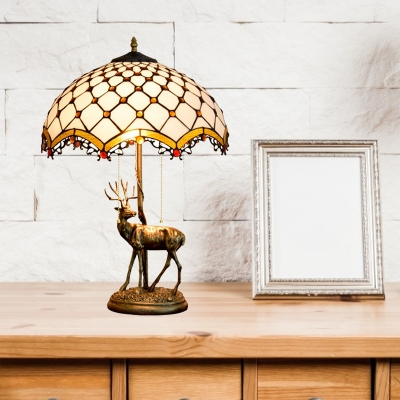 Scalloped Stained Glass Elk Table Light Baroque 2 Bulbs Brown/Yellow and White Beaded/Petal Patterned Desk Lamp with Chain