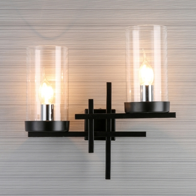 White/Clear Glass Pillar Wall Lamp Vintage 2-Head Living Room Sconce Lighting Fixture