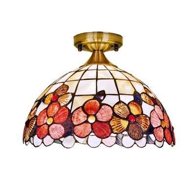 1-Bulb Kitchen Bar Flush Mount Tiffany Brass Ceiling Mount Light with Peony-Border Shell Shade