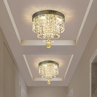3-Layer Clear Crystal Drape Flush Light Modernism Foyer LED Close to Ceiling Light Fixture