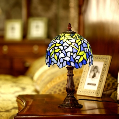 Blue Bowl Shade Night Table Light Tiffany Style 1 Light Stained Glass Bloom Pattern Desk Lamp with Coffee Base