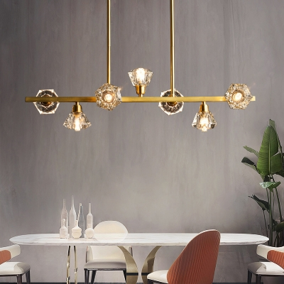 Brass 7 Heads Island Light Postmodern Crystal Block Diamond Ceiling Suspension Lamp