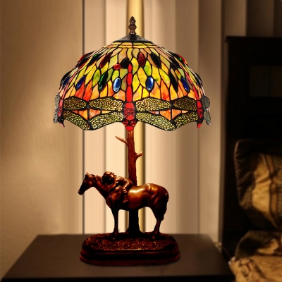 Coffee 1-Head Table Lighting Baroque Stained Glass Dragonfly Patterned Night Lamp with Resin Horse and Kid Deco