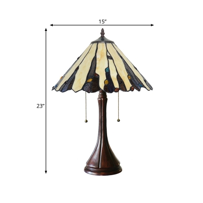 Conical Night Table Lighting 2 Heads Stained Art Glass Mission Style Desk Light in Coffee with Pull Chain