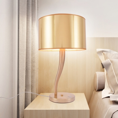 Mid Century Drum Touch Table Lamp Iron, Touch Nightstand Lamps