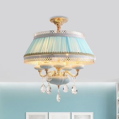 Pink/Blue 4 Lights Hanging Lamp Rustic Pleated Fabric Tapered Chandelier with Rick Rack Trim and Candle Design
