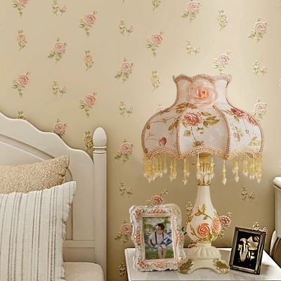 Ruffle Printed Fabric Table Light Pastoral 1 Light Bedside Nightstand Lamp in Beige with Drape