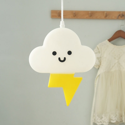 White and Yellow Cloud Pendant Light Cartoon LED Acrylic Ceiling Suspension Lamp