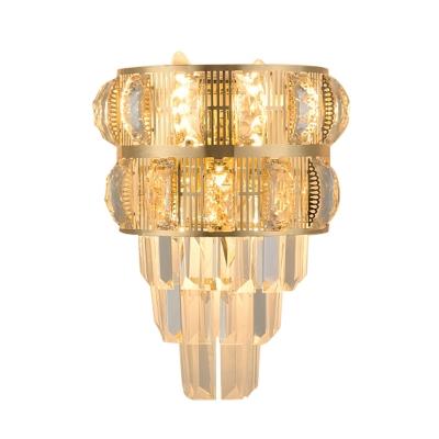 3 Lights Half-Cone Flush Mount Modernist Gold Crystal Wall Mounted Lighting Fixture for Corner