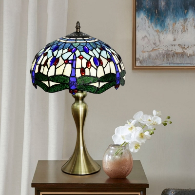 Bowl Shade Stained Glass Table Lamp Tiffany 1 Head Gold Finish Nightstand Light with Dragonfly Pattern