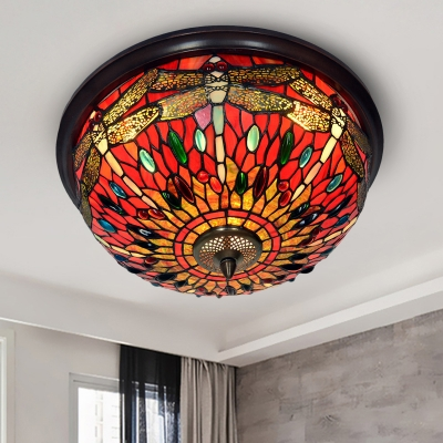 Dragonfly LED Ceiling Fixture Tiffany Style Blue/Red Cut Glass Flush Mount Lamp with Gem-Like Cabochons