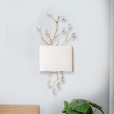 Fabric White Flush Mount Wall Sconce Cuboid 2 Bulbs Rustic Wall Mount Lamp with Branching Crystal Insert
